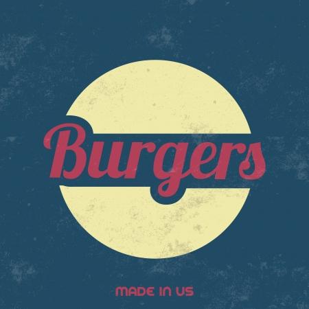 gourmet burger: Retro Food Sign   Vintage Background Illustration