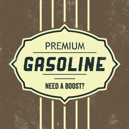 diesel fuel: Vintage Gasoline Sign   Retro Template Illustration