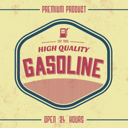 gas pump: Vintage Gasoline Sign   Retro Template Illustration