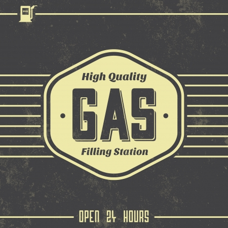 filling station: Vintage Gasoline Sign   Retro Template Illustration