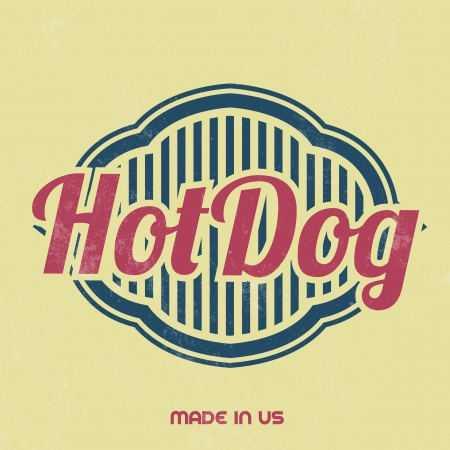 hot dog label: Retro Food Sign   Vintage Template