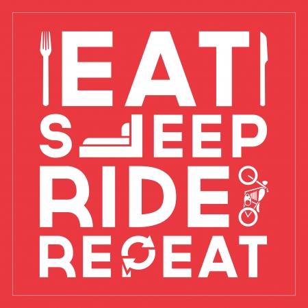 eten: Eat Sleep Ride Herhaal Quote Typografische Vormgeving Stock Illustratie