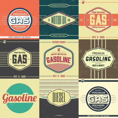 Collection of Retro Gasoline Signs   Motor Oil   Vintage Background Vector
