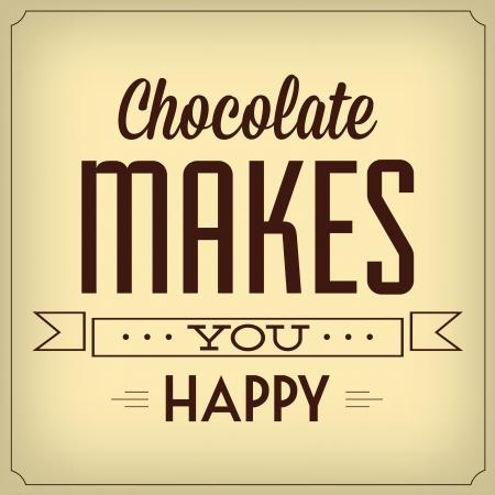 チョコレートは、幸せな引用文字体裁背景デザイン