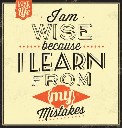 ビンテージ テンプレート レトロなデザイン引用文字体裁背景私は午前賢明な私の過ちから学ぶため  イラスト・ベクター素材