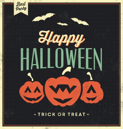 tricks: Happy Halloween Sign With Pumpkins   Vintage Template   Retro Background   Trick Or Treat