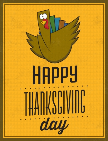 turkey feather: Happy Thanksgiving Day - Vintage Typographic Poster With Retro Background Illustration