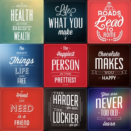 Set Of Vintage Typographic Backgrounds - Motivational Quotes - Retro Colors With Calligraphic Elements Vector