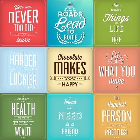 Set Of Vintage Typographic Backgrounds - Motivational Quotes - Retro Colors With Calligraphic Elements Illustration