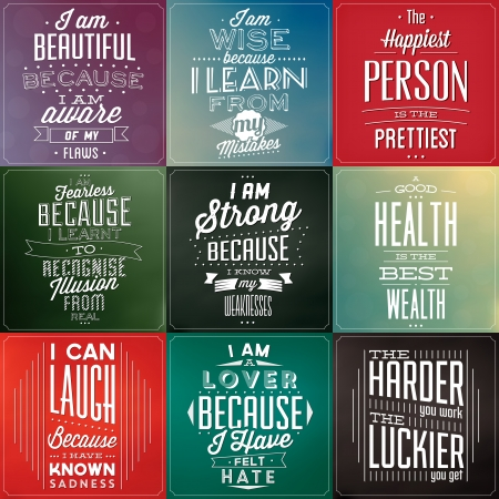 quote: Set Of Vintage Typographic Backgrounds - Motivational Quotes - Retro Colors With Calligraphic Elements Illustration
