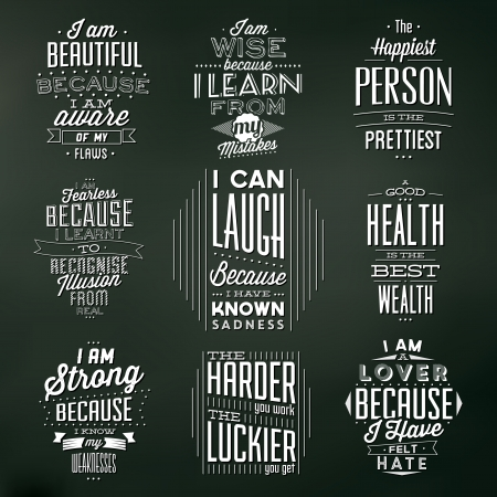sentence: Set Of Vintage Typographic Backgrounds - Motivational Quotes - Retro Colors With Calligraphic Elements Illustration