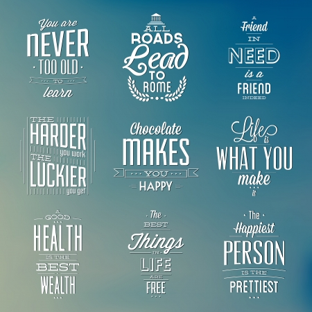 motivational: Set Of Vintage Typographic Backgrounds - Motivational Quotes - Retro Colors With Calligraphic Elements Illustration