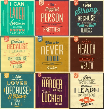 Set Of Vintage Typographic Backgrounds - Motivational Quotes - Retro Colors With Calligraphic Elements Çizim