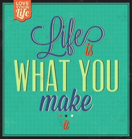 ビンテージ テンプレート - レトロなデザイン - 引用文字体裁背景 - 人生は自分で作るもの