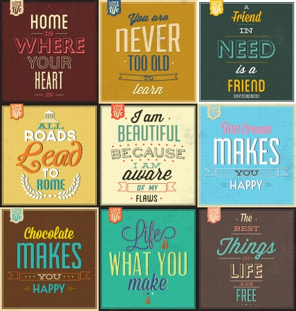 inspirational: Set Of Vintage Typographic Backgrounds - Motivational Quotes - Retro Colors With Calligraphic Elements Illustration