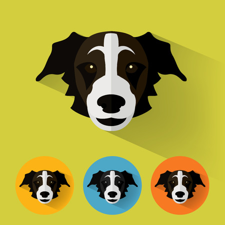 shepard: Animal Portrait with Flat Design  Dog  Shepherd  Vector Illustration