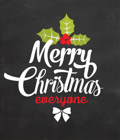 Christmas Typographic Background  Merry Christmas