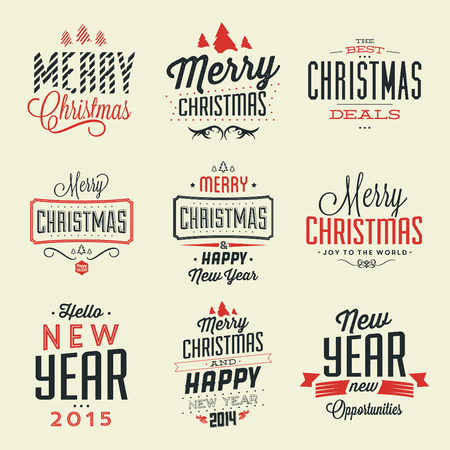 typography: Christmas Typographic Background Set  Merry Christmas And Happy New Year