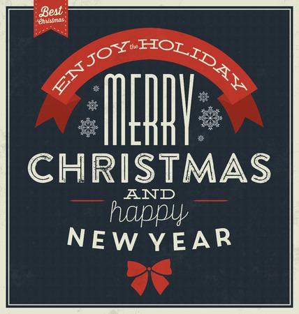 Vintage Christmas Typographic Background  Merry Christmas Illustration