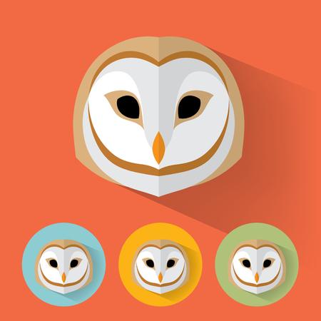 Animal Portrait with Flat Design / Owl / Vector Illustration Иллюстрация