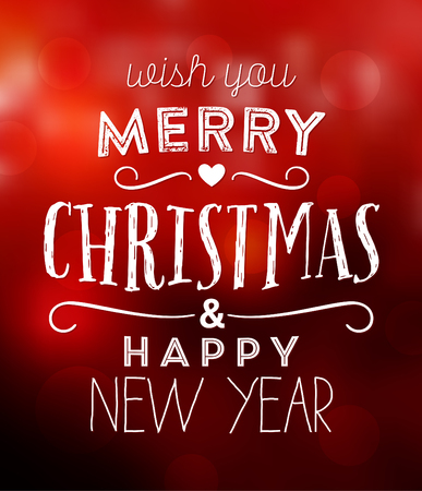 Christmas Typographic Background / Wish You Merry Christmas And Happy New Year