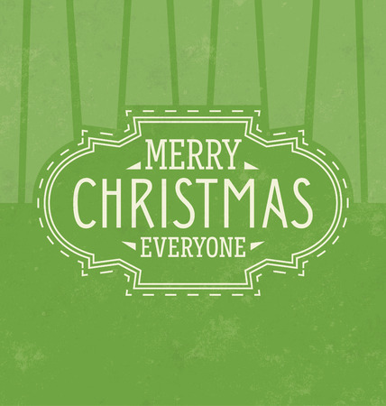 Vintage Christmas Typographic Background  Retro Design  Merry Christmas Everyone Illustration