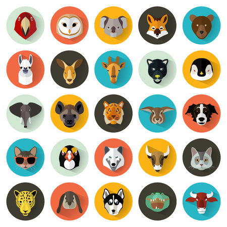dieren: Animal Portret Set met Flat Design  Vector Illustration