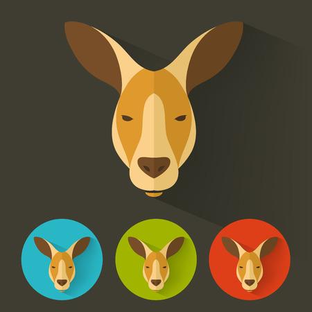 signs and symbols: Animal Portrait with Flat Design  Kangaroo  Vector Illustration