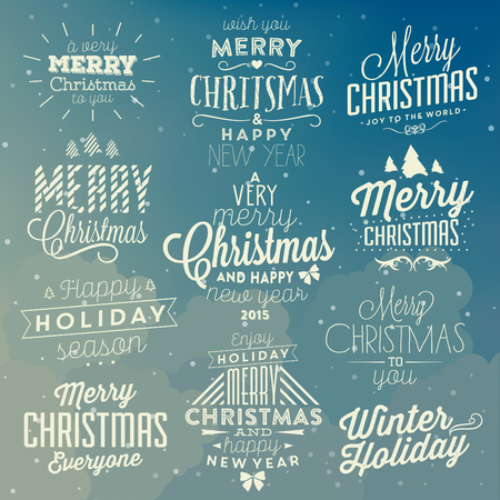 merry: Christmas Typographic Background Set  Merry Christmas And Happy New Year