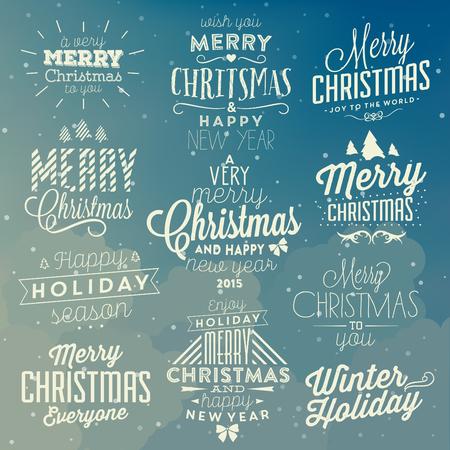 Kerst Typografische Achtergrond Set / Prettige Kerstdagen en Gelukkig Nieuwjaar