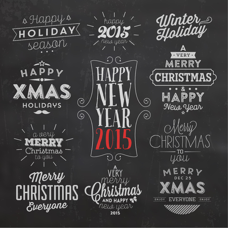 Christmas Typographic Background Set / Merry Christmas And Happy New Year Иллюстрация