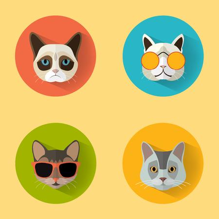 Animal Portrait Set with Flat Design Cat Collection  Vector Illustration