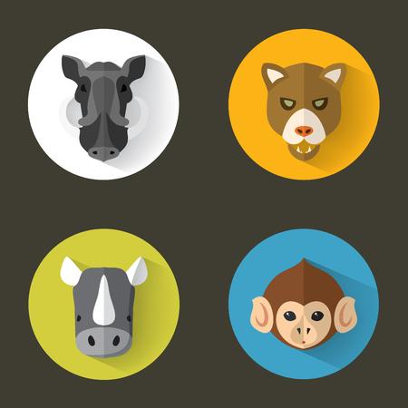 Animal Portrait Set with Flat Design  Vector Illustration