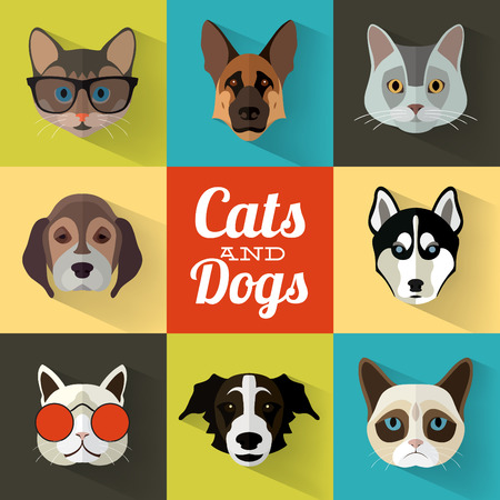 Animal Portrait Set with Flat Design / Cats and Dogs / Vector Illustration