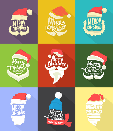 Christmas Typographic Background Collection  Merry Christmas  Santa Ilustrace