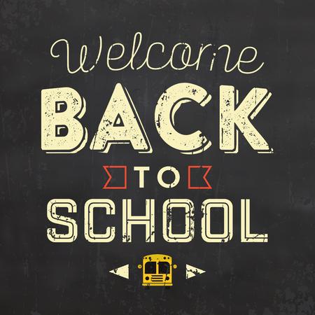 hi back: Back to School Typographic Poster Illustration