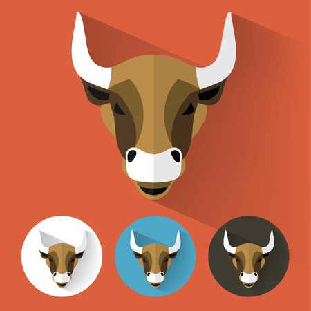 angry bull: Animal Portrait with Flat Design  Bull  Vector Illustration