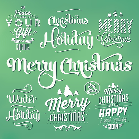 decoration elements: Collection of Christmas Decoration  Typographic Design With Labels  Calligraphic Elements