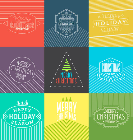 everyone: Collection of Christmas Typographic Backgrounds  Retro Design  Merry Christmas Everyone