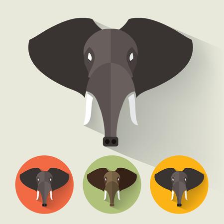 Animal Portrait with Flat Design / Elephant / Vector Illustration Иллюстрация