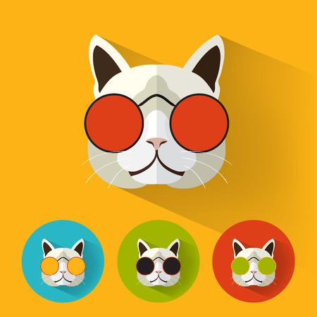 フラットなデザインを持つ動物肖像画猫レトロ サングラス ベクトル イラスト