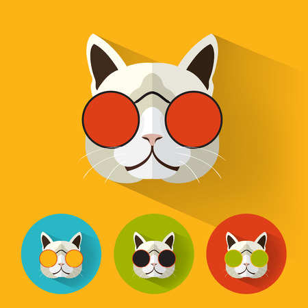 Animal Portrait with Flat Design  Cat  Retro Sunglasses  Vector Illustration