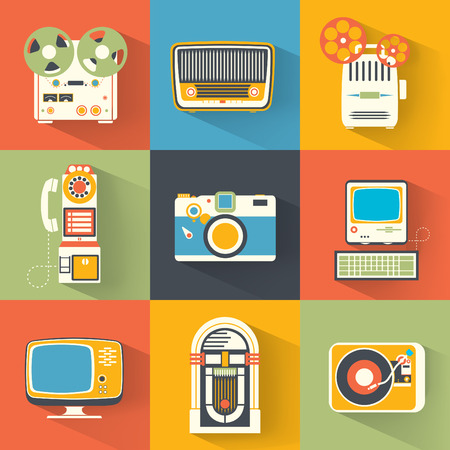 jukebox: Collection of Vintage Electronics  Media Icons  Retro Devices Illustration