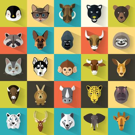 Animal Portret Set met Flat Design  Vector Illustration