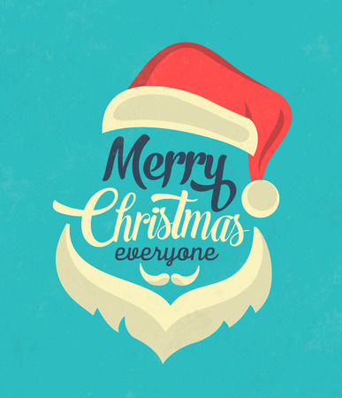 Christmas Typographic Background  Merry Christmas  Santa