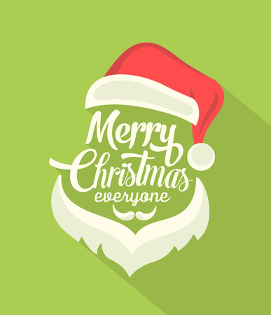 christmas poster: Christmas Typographic Background With Long Shadow  Merry Christmas  Santa