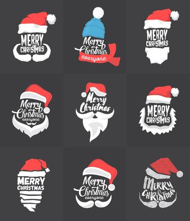 クリスマス文字体裁のバック グラウンド コレクションメリー ・ クリスマスサンタ