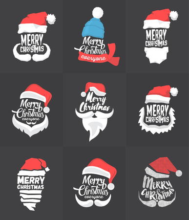 Christmas Typographic Background Collection  Merry Christmas  Santa Illustration