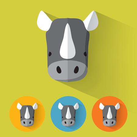 rhino vector: Animal Portrait with Flat Design  Rhino  Vector Illustration Illustration