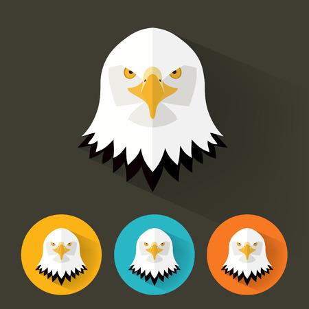 Animal Portrait with Flat Design  Bald Eagle  Vector Illustration